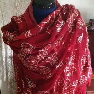 Amazing Bright Red Sparkling Holiday Accent Cloth